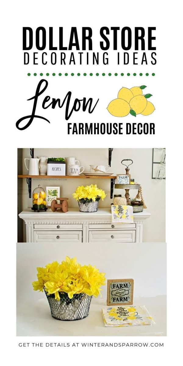 Dollar Store Decorating Ideas:  Bright + Cheery Lemon Farmhouse Decor {Video}
